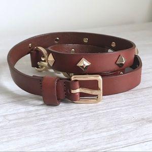 REBECCA MINKOFF Brown Cognac Dog Clip Studded Belt
